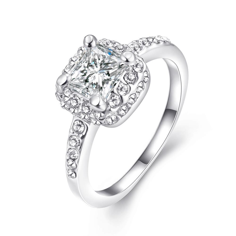 Vienna Jewelry Micro-Insert Ring 18K White Gold Plated Size 7