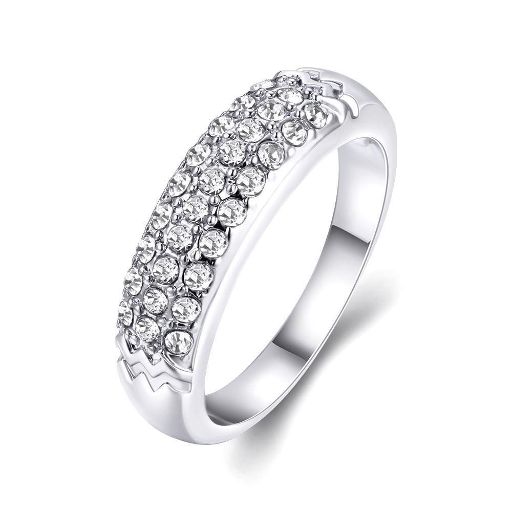 Vienna Jewelry 18K White Gold Triple Layer Middi Ring Size 7