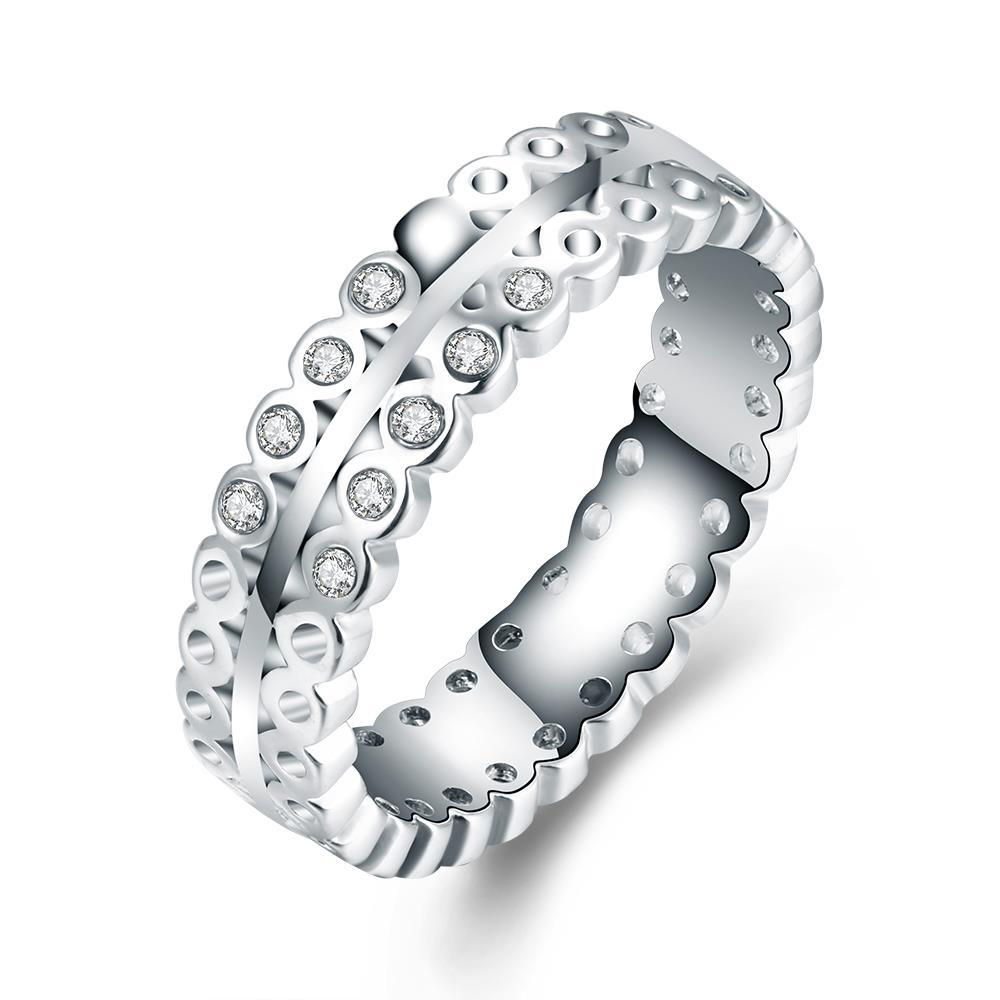 Vienna Jewelry 18K White Gold-Plated Italian-Cut Eternity Ring Size 7