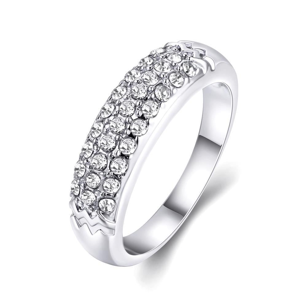 Vienna Jewelry 18K White Gold Triple Layer Middi Ring Size 6