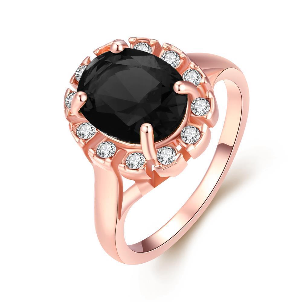 Vienna Jewelry 18K Rose Gold Midnight Black CZ Stone Ring Size 9
