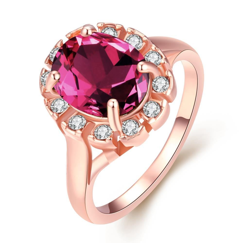 Vienna Jewelry 18K Rose Gold Rose Quartz CZ Stone Ring Size 7