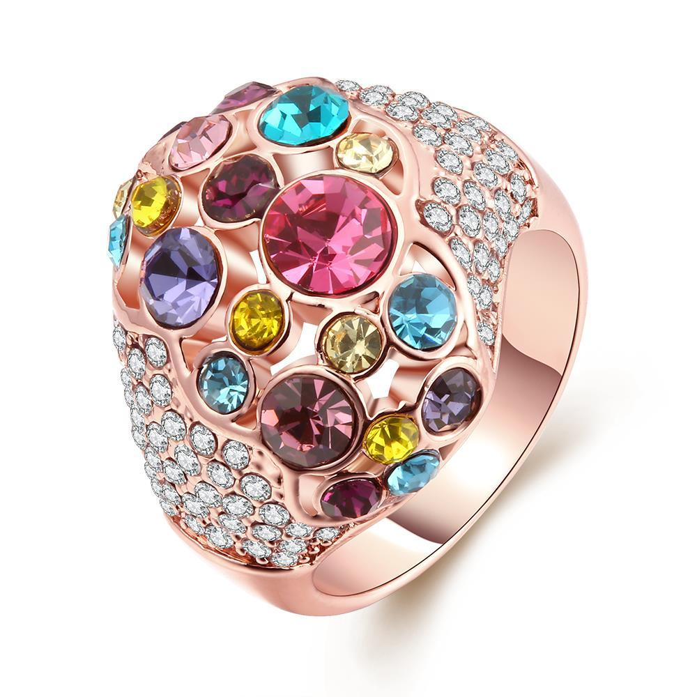 Vienna Jewelry RainbowGem-Insert 18K Rose Gold Plated Ring Size 7
