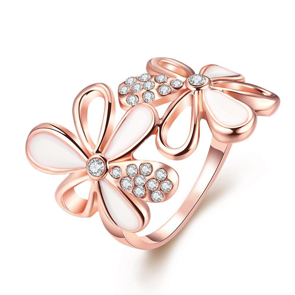 Vienna Jewelry 18K Rose Gold Plated Double Flower Ring Size 8