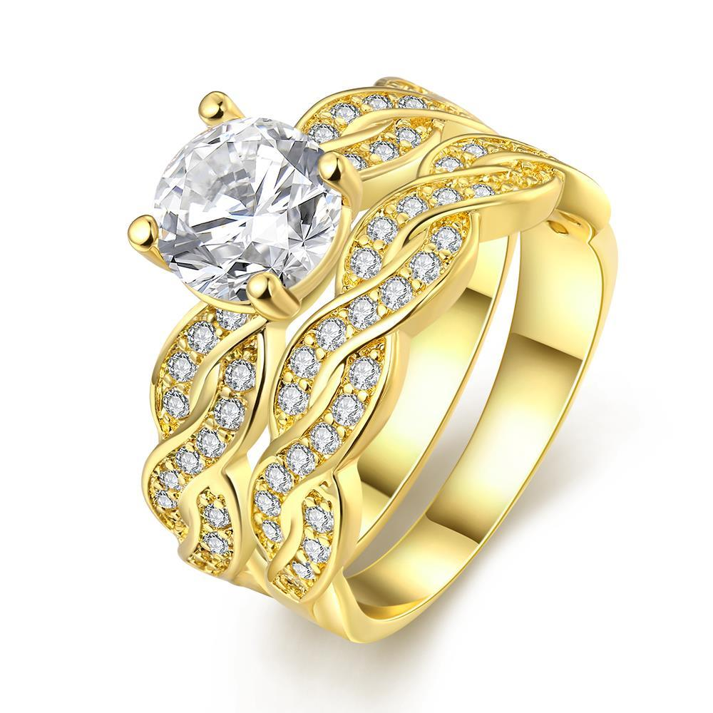 Vienna Jewelry 18K Gold Plated Double Layer Ring Size 7