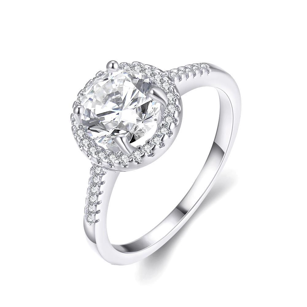Vienna Jewelry 18K White Gold Plated White Topaz Geometric Ring Size 7
