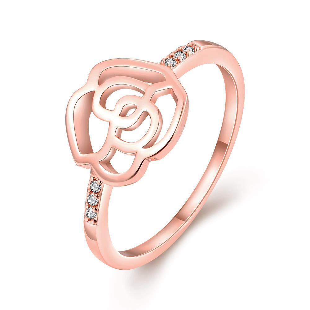 Vienna Jewelry 18K Rose Gold Plated Flower Cut Ring Size 8