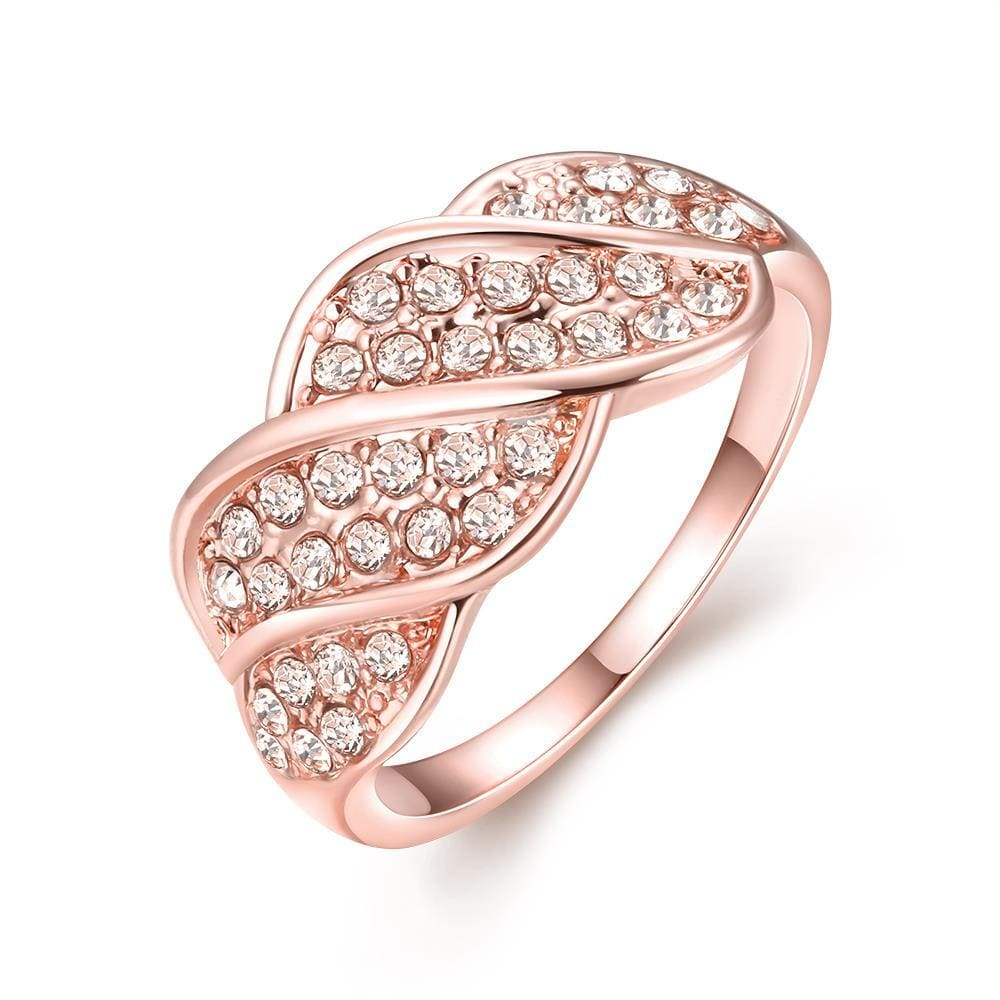 Vienna Jewelry 18K Rose Gold Plated Crystal Pave Ring Size 8
