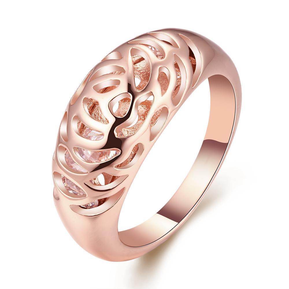 Vienna Jewelry 18K Rose Gold Plated Carved-in Ring Size 8