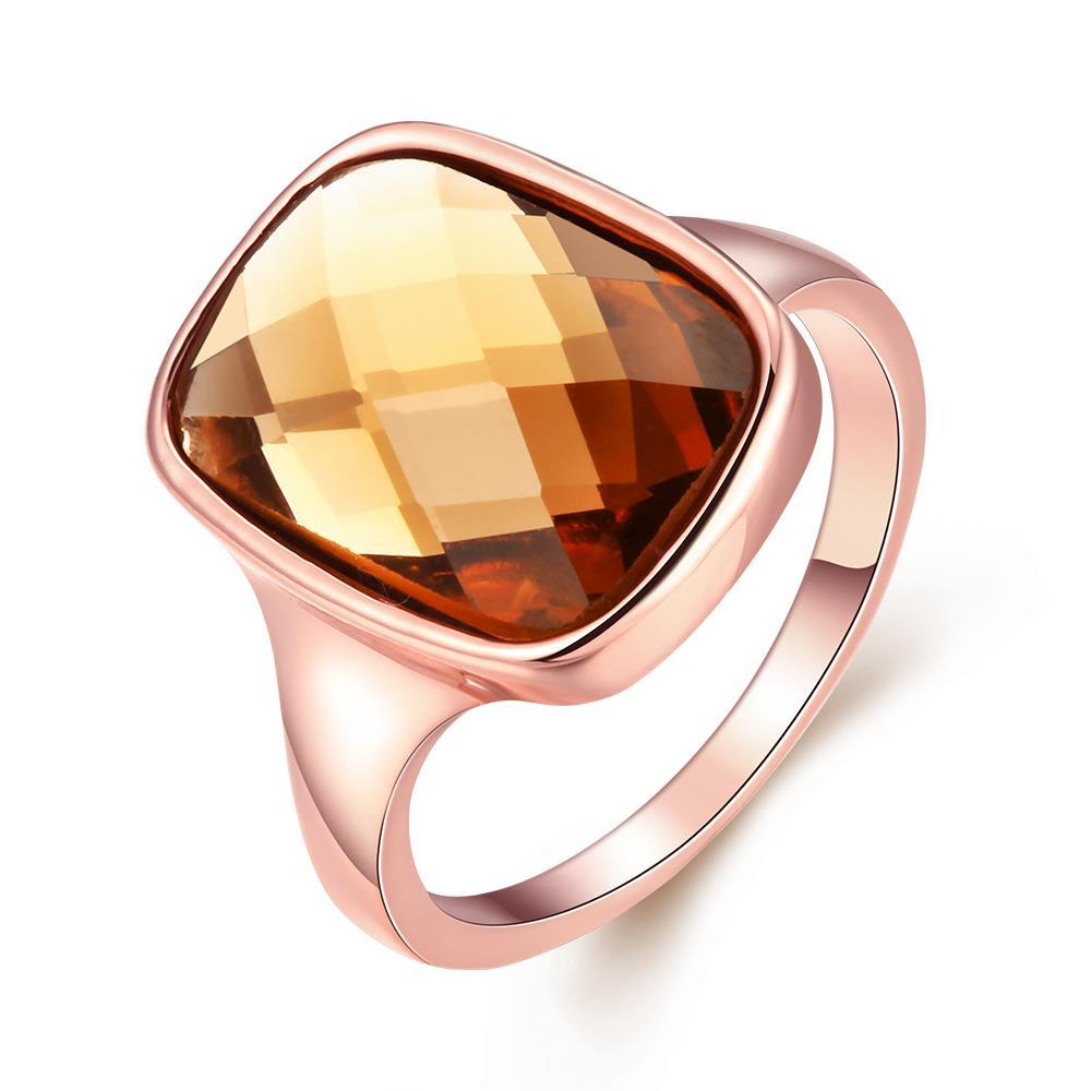 Vienna Jewelry 18K Rose Gold Citrine Stone Ring Size 8