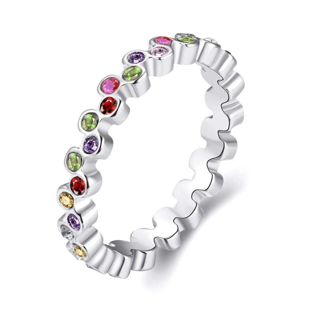 Vienna Jewelry Multi-Color Eternity Ring 18K Rose Gold-Plated Size 8