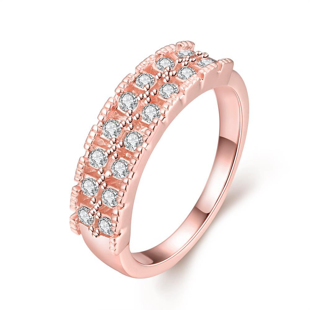 Vienna Jewelry 18K Rose Gold Middi Bar Ring Size 6