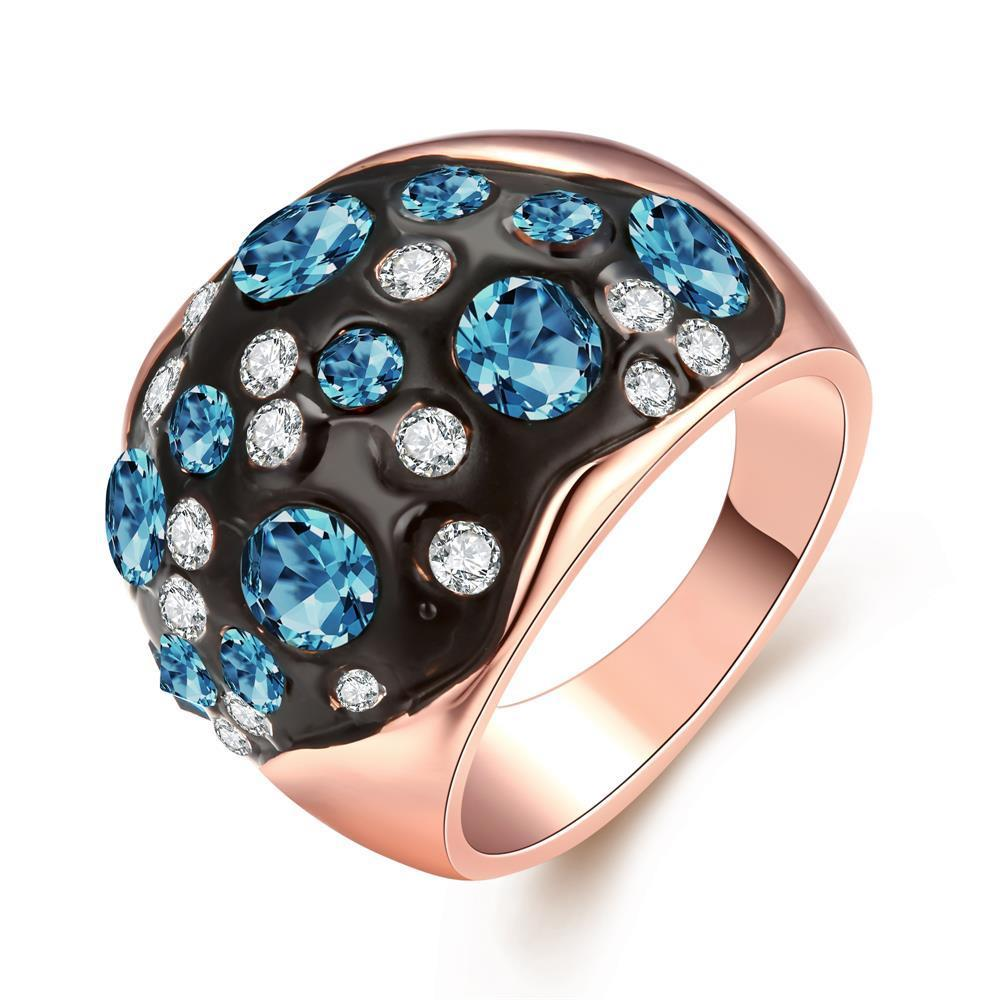 Vienna Jewelry 18K Rose Gold Multi-Blue Stone Ring Size 7