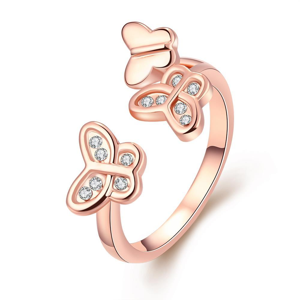 Vienna Jewelry 18K Rose Gold Plated Triple Butterfly Ring Size 7