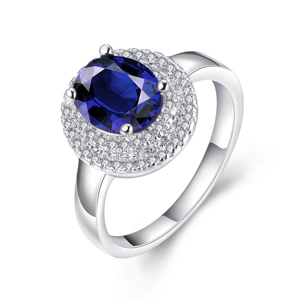 Vienna Jewelry 18K White Gold Plated Sapphire Geometric Ring Size 8