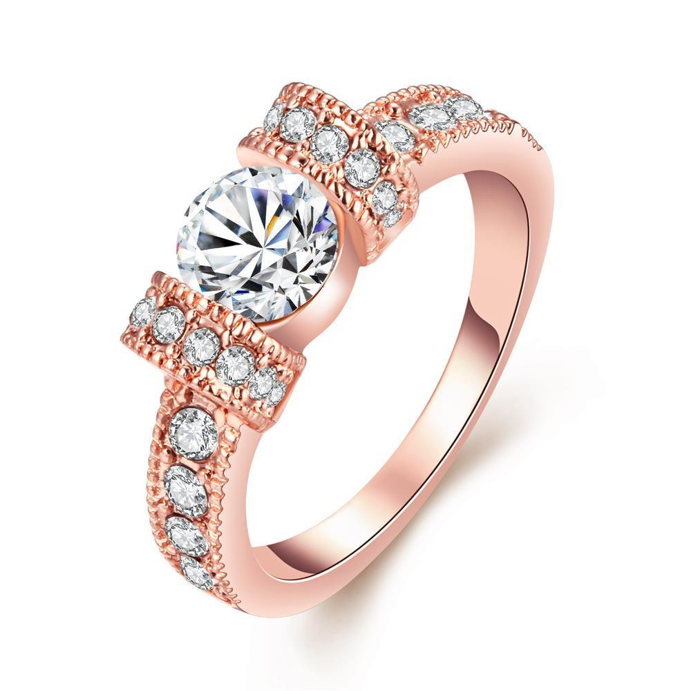 Vienna Jewelry 18K Rose Gold-Plated Italian-Cut Eternity Ring Size 8