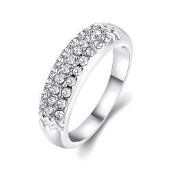 Vienna Jewelry 18K White Gold Triple Layer Middi Ring Size 7 - Thumbnail 0