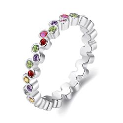 Vienna Jewelry Multi-Color Eternity Ring 18K Rose Gold-Plated Size 7 - Thumbnail 0