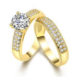 Vienna Jewelry 18K Gold Plated Ring Matching middi Ring Size 8 - Thumbnail 0