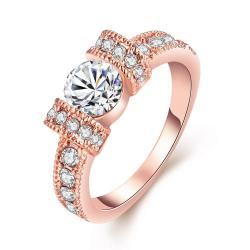 Vienna Jewelry 18K Rose Gold-Plated Italian-Cut Eternity Ring Size 7 - Thumbnail 0