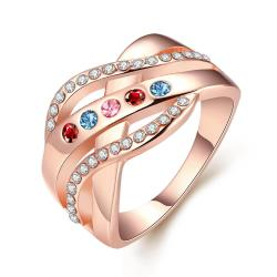 Vienna Jewelry Rainbow 18K Rose Gold Plate White Topaz Layer Ring Size 8 - Thumbnail 0