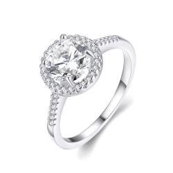 Vienna Jewelry 18K White Gold Plated White Topaz Geometric Ring Size 8 - Thumbnail 0