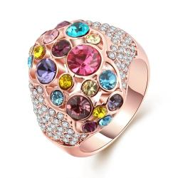 Vienna Jewelry RainbowGem-Insert 18K Rose Gold Plated Ring Size 7 - Thumbnail 0