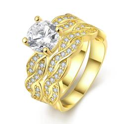 Vienna Jewelry 18K Gold Plated Double Layer Ring Size 7 - Thumbnail 0