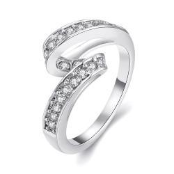 Vienna Jewelry 18K White Gold Plated Swirl Ring Size 7 - Thumbnail 0