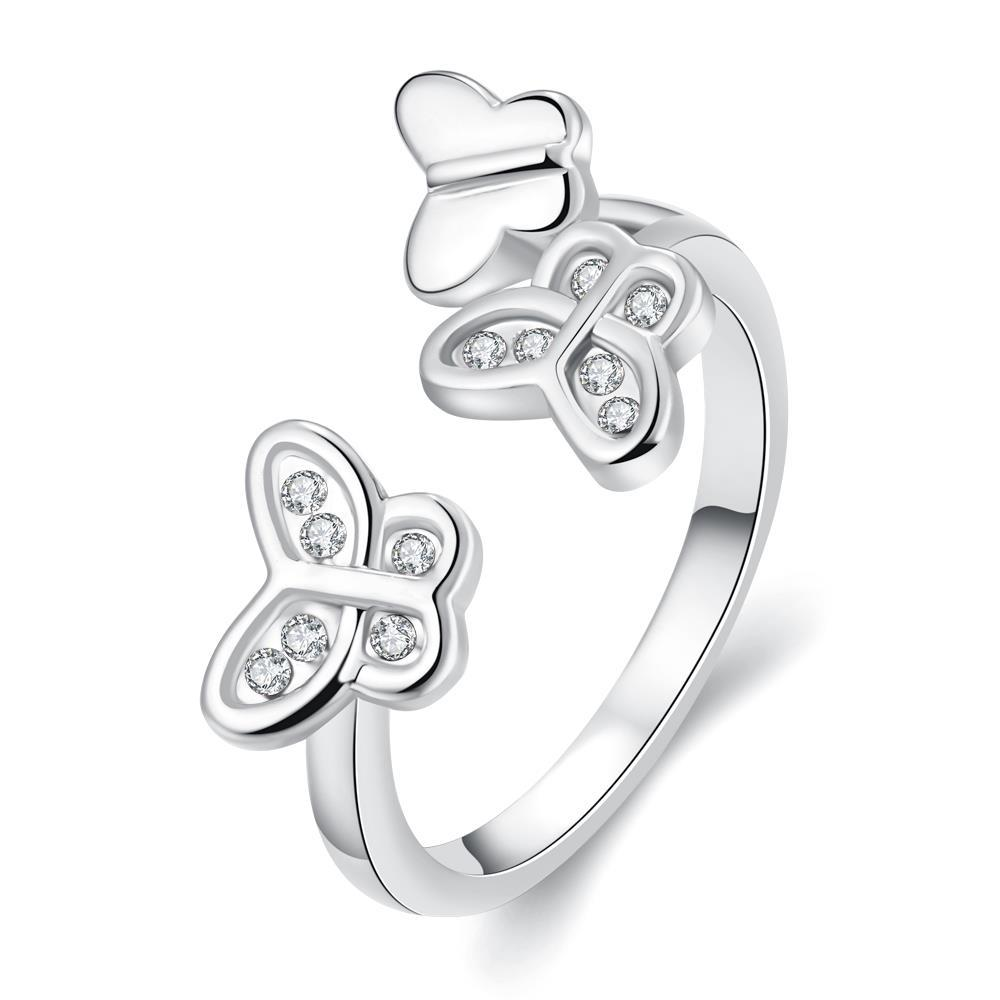 Vienna Jewelry White Gold Plated Butterfly Ring Size 7