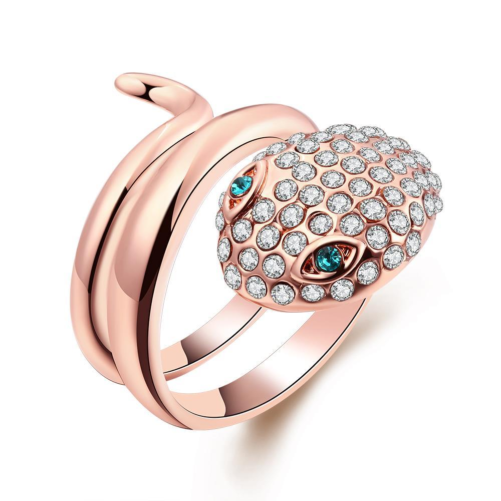 Vienna Jewelry 18K Rose Gold Plated Snake Sapphire Eyes Ring Size 8