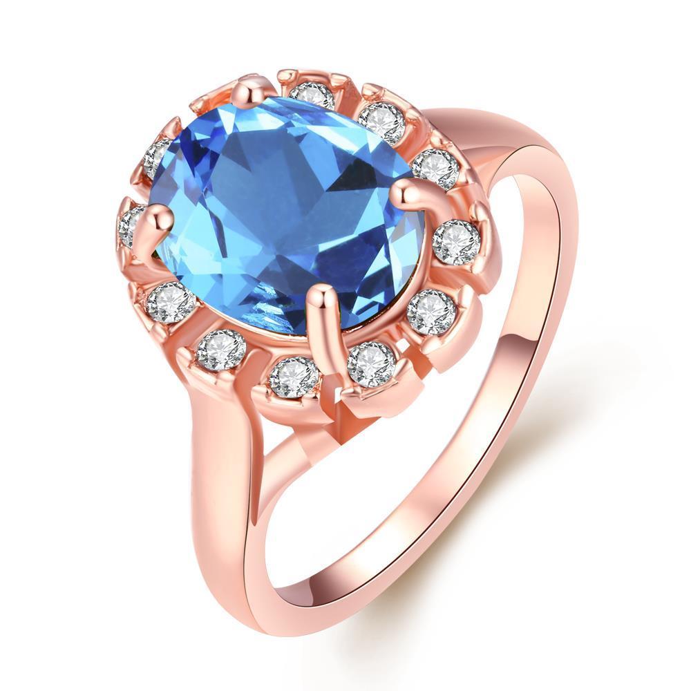 Vienna Jewelry 18K Rose Gold Sapphire CZ Stone Ring Size 6
