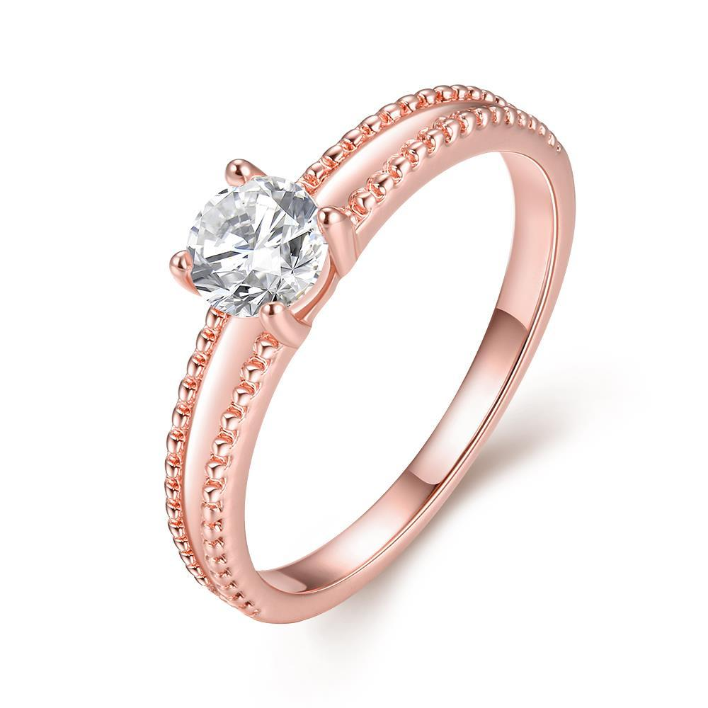 Vienna Jewelry 18K Rose Gold Plated Elegant Cut Ring Size 7