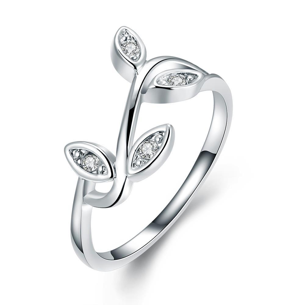 Vienna Jewelry 18K White Gold Plated Olive Tree Branch Ring Size 7