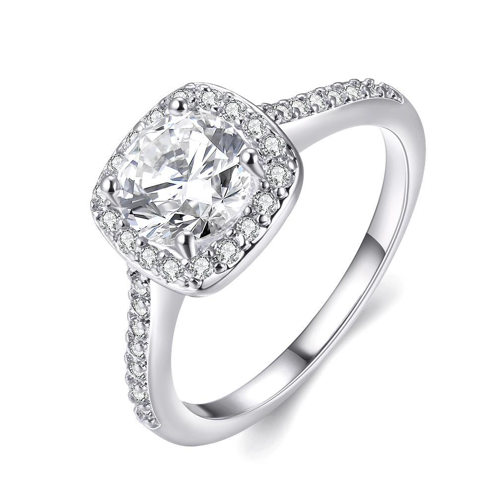 Vienna Jewelry 18K White Gold Plated Geometric Ring Size 6