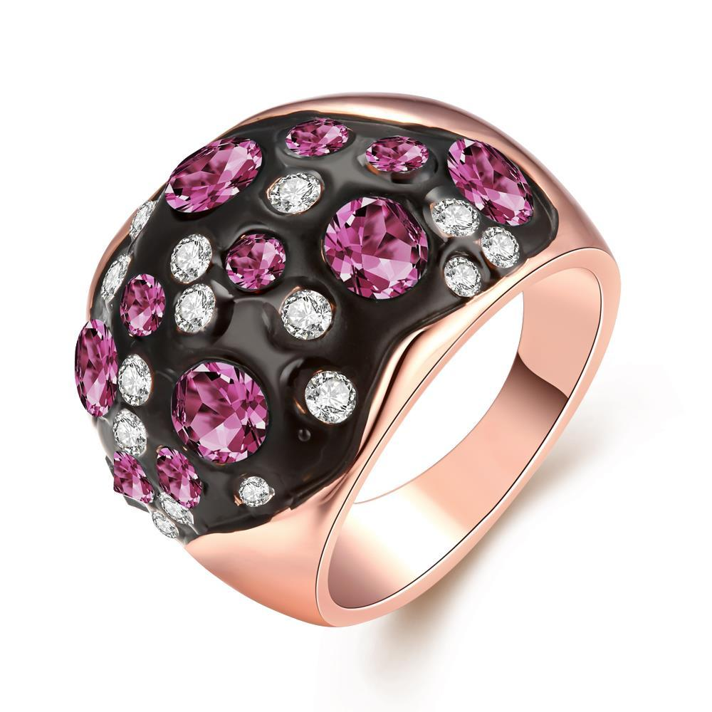Vienna Jewelry 18K Rose Gold Multi-Pink Stone Ring Size 8
