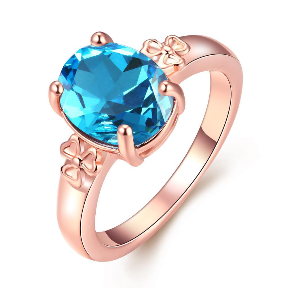 Vienna Jewelry 18K Rose Gold Plated Sapphire Flower Ring Size 6
