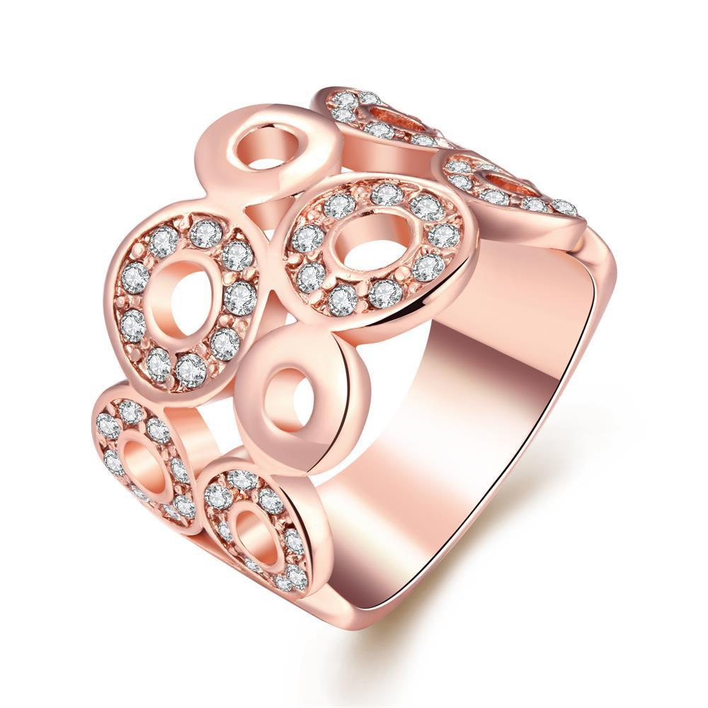 Vienna Jewelry 18K Rose Gold Geometric Circles Ring Size 7