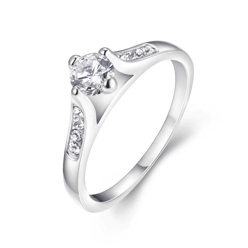 Vienna Jewelry 18K White Gold Italian Cut Ring Size 7