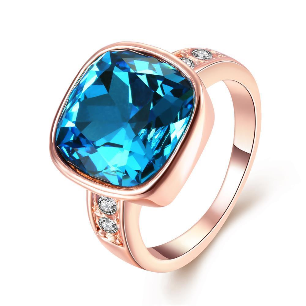 Vienna Jewelry 18K Rose Gold Plated Aqua Blue Stone Ring Size 8