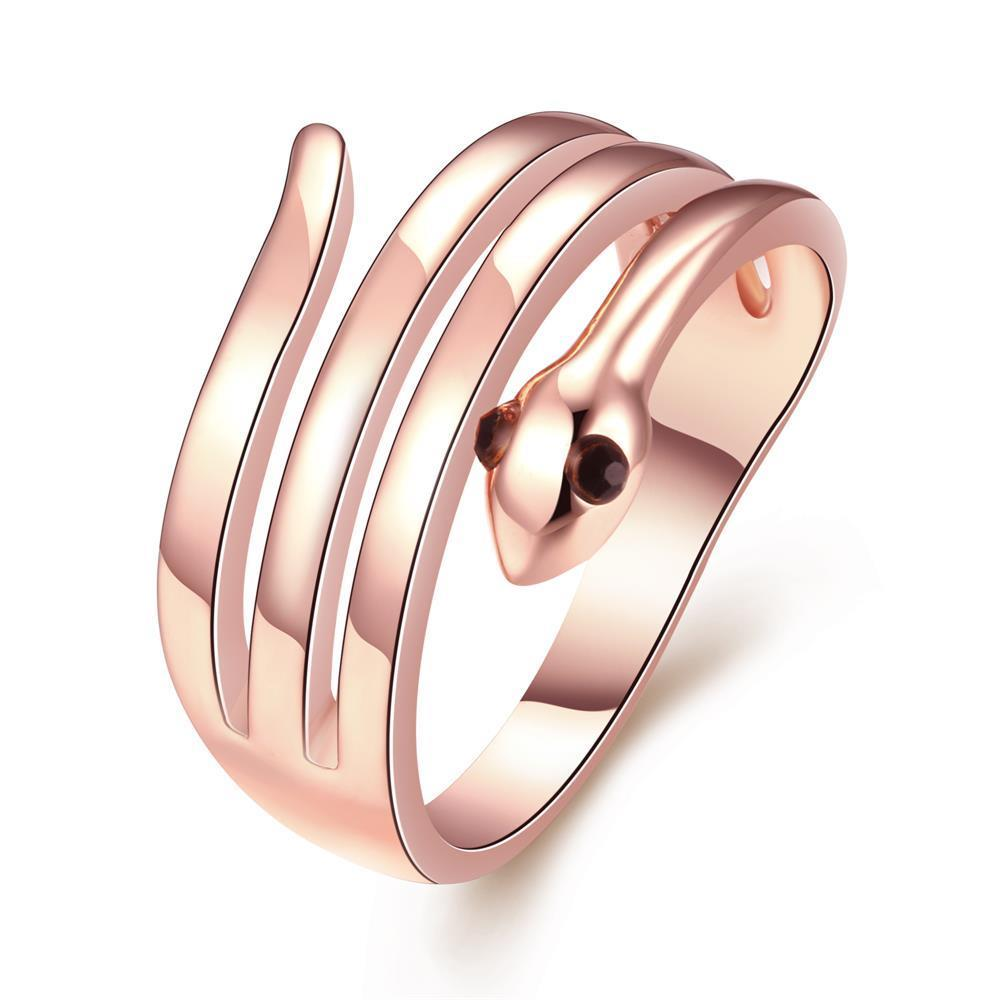 Vienna Jewelry 18K Rose Gold Plated Wrap-around Snake Ring Size 7