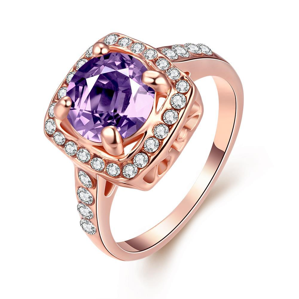 Vienna Jewelry 18K Rose Gold Amethyst Ring Size 7
