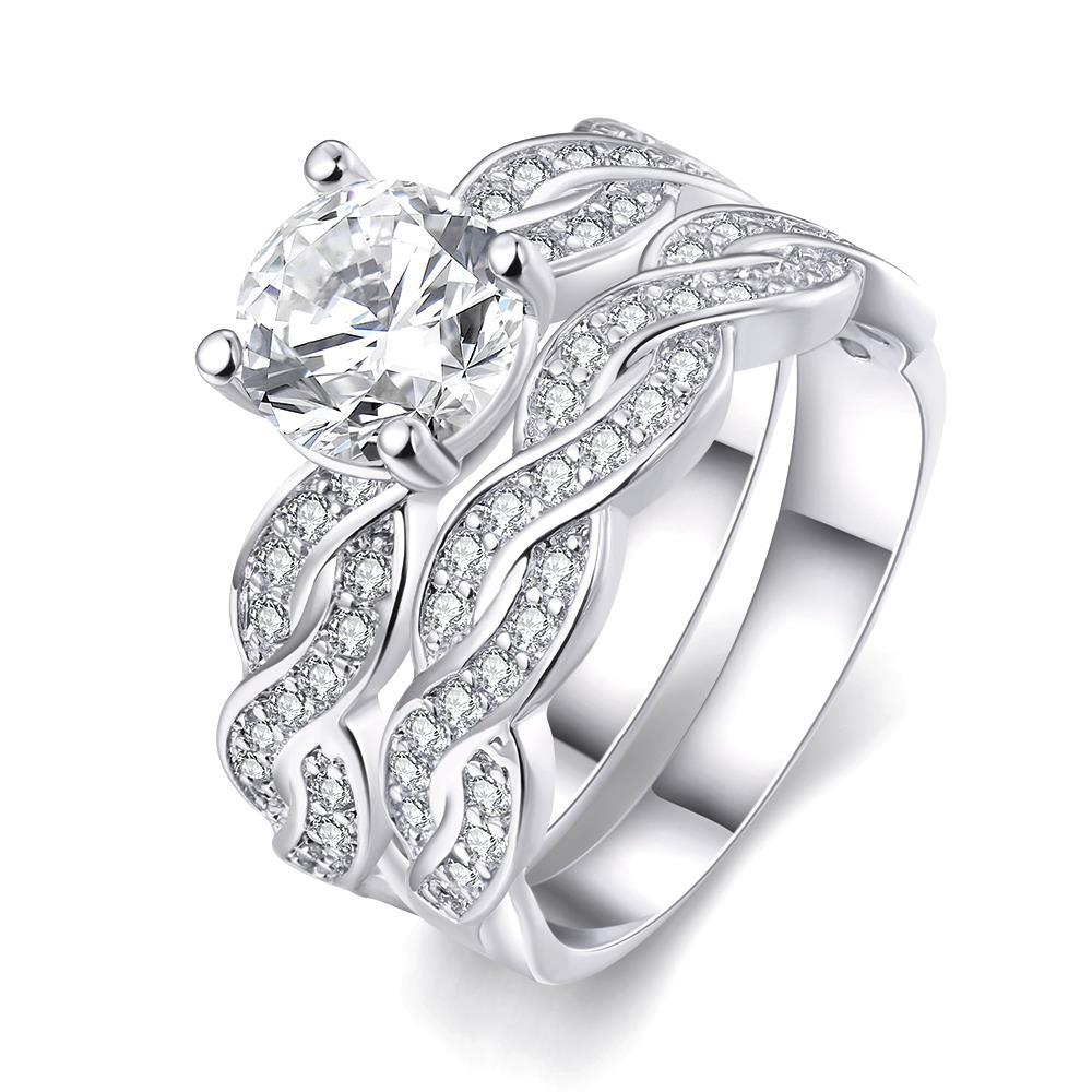 Vienna Jewelry 18K White Gold Plated Double Layer Ring Size 7