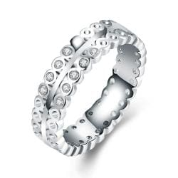Vienna Jewelry 18K White Gold-Plated Italian-Cut Eternity Ring Size 7 - Thumbnail 0