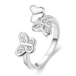 Vienna Jewelry White Gold Plated Butterfly Ring Size 8 - Thumbnail 0
