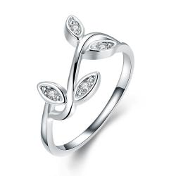 Vienna Jewelry 18K White Gold Plated Olive Tree Branch Ring Size 7 - Thumbnail 0