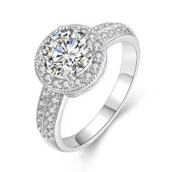 Vienna Jewelry 18K White Gold Geometric Diamond Simulated Ring Size 8 - Thumbnail 0