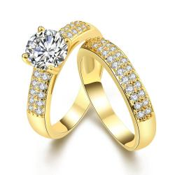 Vienna Jewelry 18K Gold Plated Ring Matching middi Ring Size 9 - Thumbnail 0