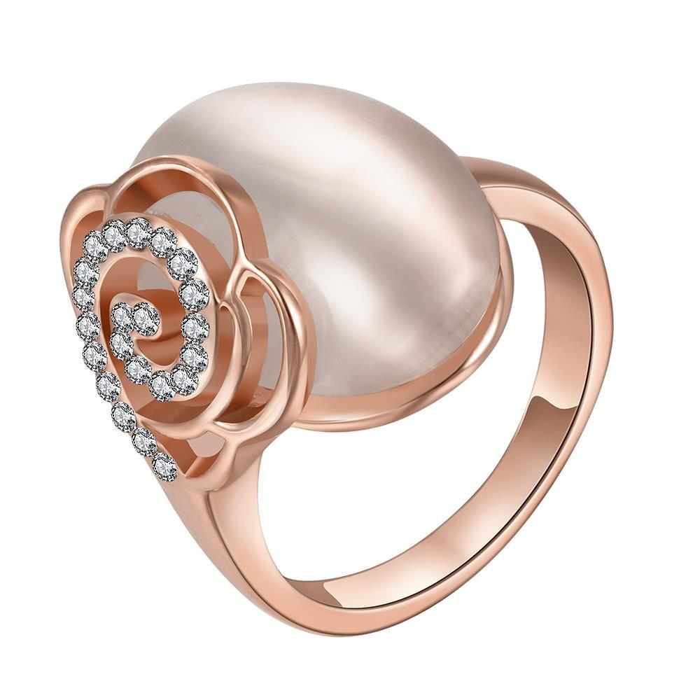 Vienna Jewelry Rose Gold Plated Ivory Gem Center Ring with Floral Backing Size 8