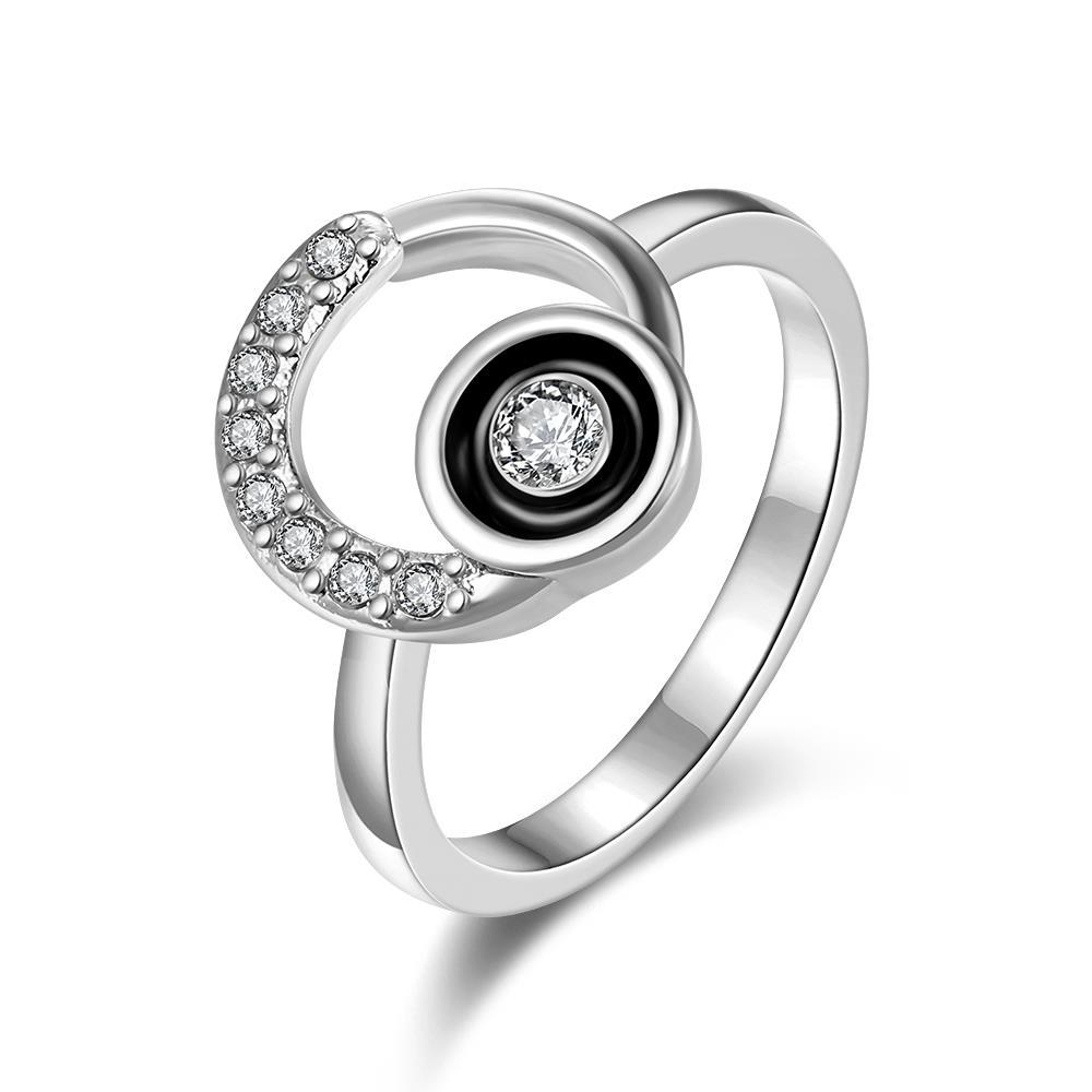 Vienna Jewelry White Gold Plated Circular Emblem with Onyx Center Ring Size 8